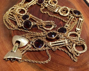 Gold Tone Chains with Amber Glass Stones