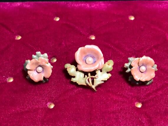 Joan Rivers Pink Poppys Pierced Earrings and Brooc