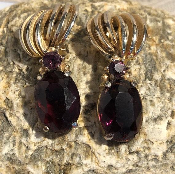 Schiaparelli Amethyst Clip Earrings