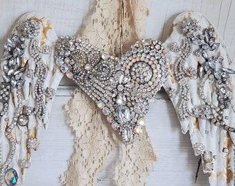 Rhinestone jewelry metal wall angel wings ,  Shabby wings , vintage style , vintage rhinestone