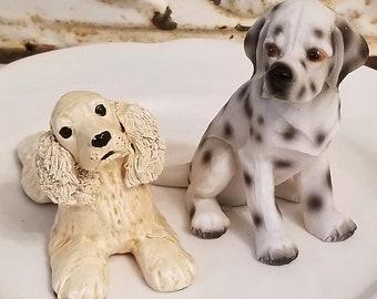 set of 2 Dalmatian and Spaniel dog figurines vtg figure statue cocker