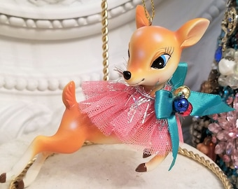 vintage style deer figure ornament , Pink / Blue bow Kitchsy Christmas,
