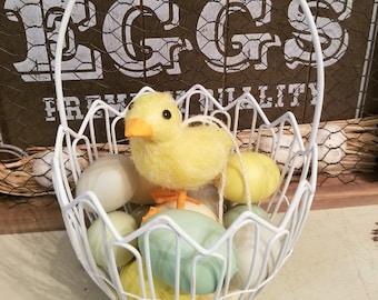 Easter basket, easter eggs, baby chick, vintage Easter
