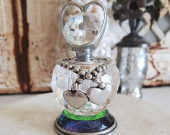 beautiful Glass Perfume bottle with silver heart topper, heart tags, faceted glass, vintage bottle, lovers, double heart