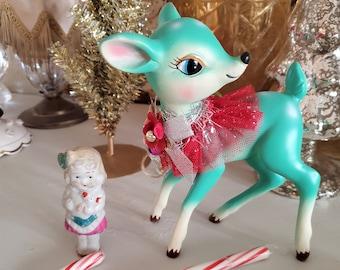 vintage style Turquoise  deer figure, Kitchsy Christmas, large deer, deer statue, Christmas blue green deer, retro