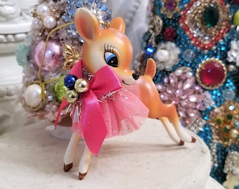 vintage style deer figure ornament , Pink Kitchsy Christmas,