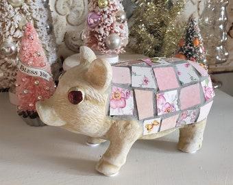 Shabby toile tile pig statue, Pink floral tiles, Piggy figure, pig figurine, vintage style pig