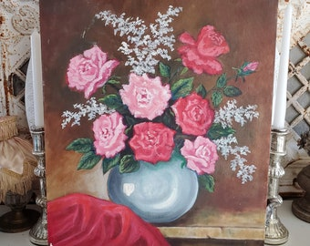 vintage ROSES Oil Painting, Shabby roses, floral painting, Shabby painting, Pink roses, vintage pink, canvas painting Valentine