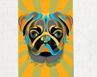 PUG Art Print Poster Pet Decor, Pug Wall Art, Dog Decor, modern home decor, Pet Portrait, Gift for Pet Lover