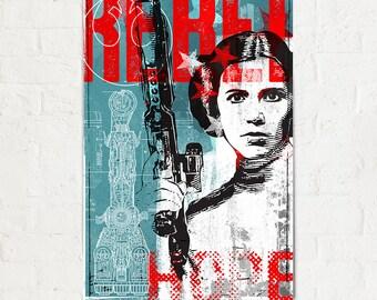 Princess Leia Star Wars art print Poster, Star Wars print, Rebel, Fan Art, Pop Art, Illustration, Art Print, Gift for boyfriend