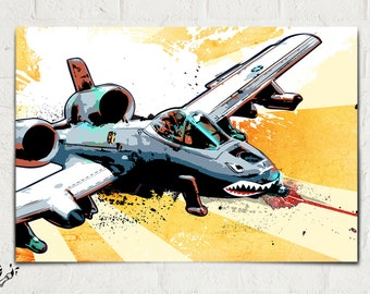 Airplane Print - A-10 Thunderbolt - Airplane Decor, fighter jet, Art Print, Military Gift, Aviation, Airplane Art, Pop Art, Pilot gift