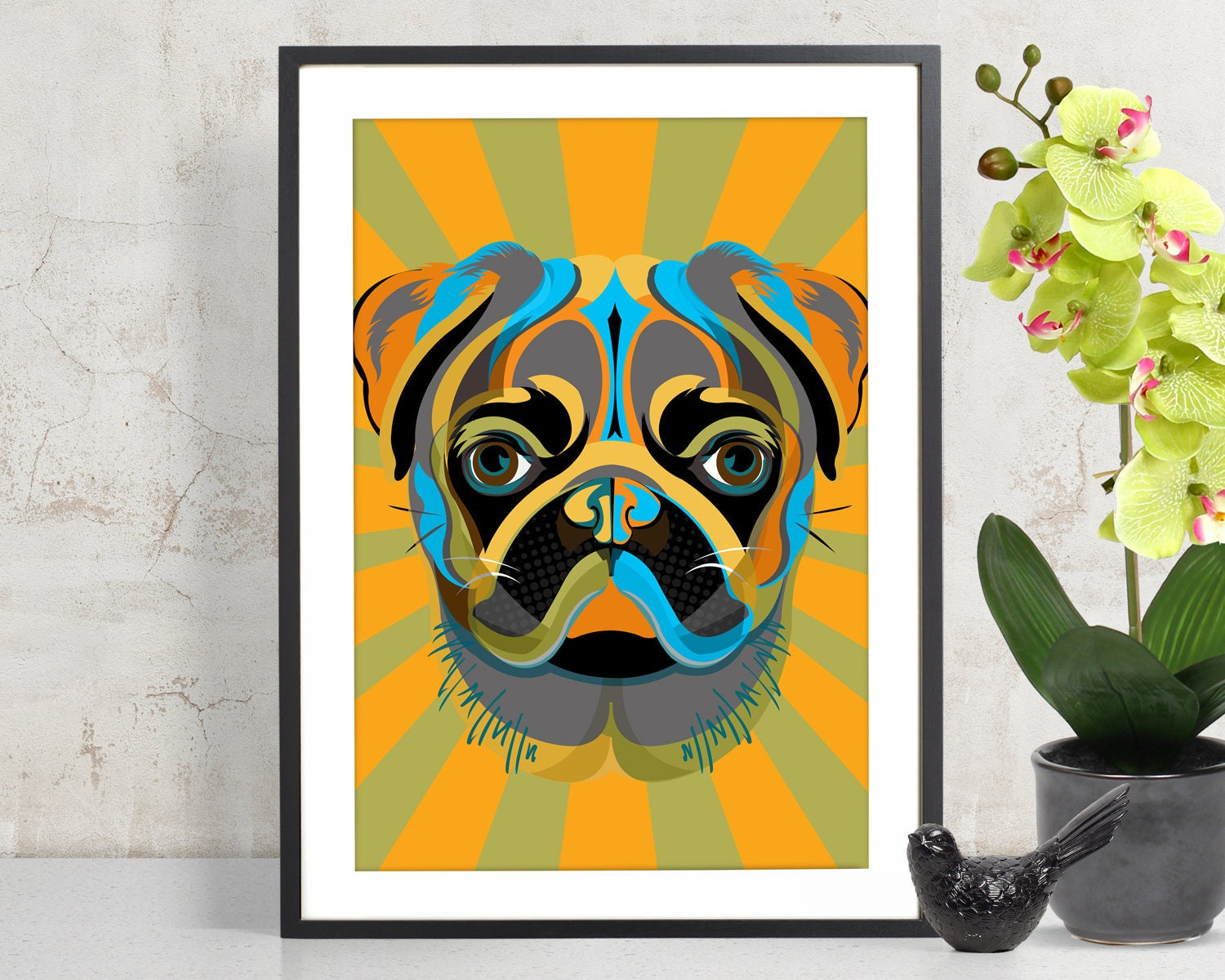 PUG Art Print Poster Pet Decor Pug Wall Art Dog Decor | Etsy
