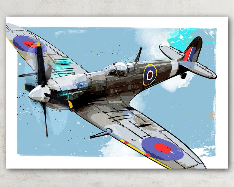 British Supermarine Spitfire Airplane Art, vintage WWII fighter plane  decor, Military Gift, watercolor painting art print