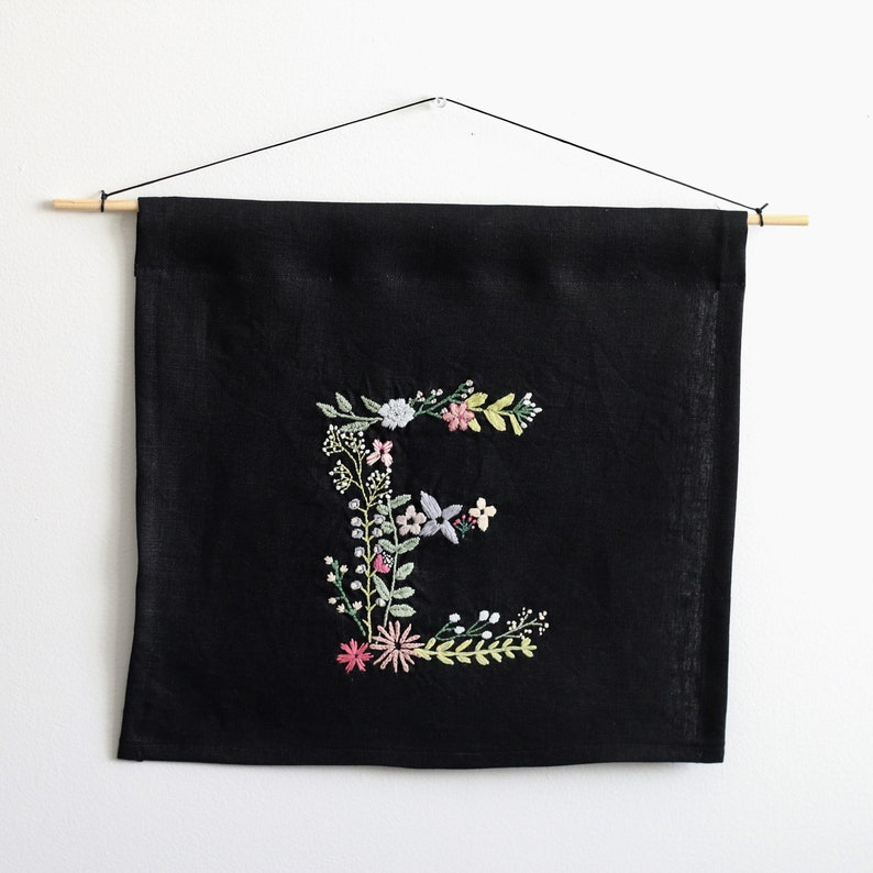 Floral Monogram PDF Embroidery Pattern Letter P Botanical Embroidery Design