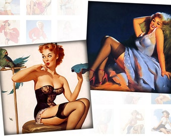 Pinup girls digital collage sheet pedant size scrabble tile 1x1 inches squares  Vol. 2 (086) Buy 3 - get 1 free