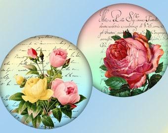 Whimsical vintage flowers 2,5 inch circles digital collage sheet for for Pocket Mirrors magnets Download (298) Buy 3 get 1 bonus