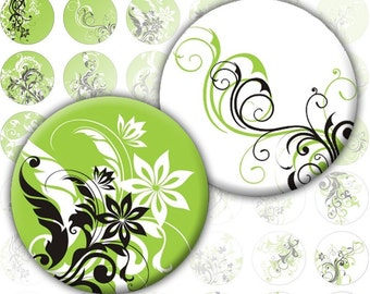 Green and white Swirls and flowers1 inch circles (199)