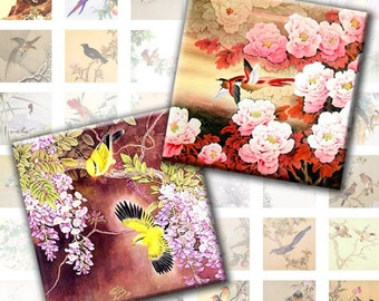 Vintage japanese asian birds digital collage sheet 1x1 inches (097) Buy 3 - get 1 free