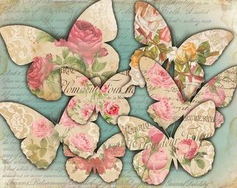 Romantic Butterflies Shabby Chic printable collage Paper Craft - JPG or PNG files (425) Buy 3 - get 1 bonus