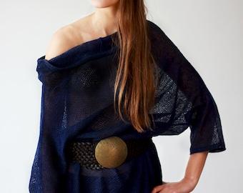 Loose Fit Dress Oversized Linen Tunic Knitted Tank Navy Blue Blouse Women Shirt  Deep Blue Linen Knit, Custom Order, Ready to Ship