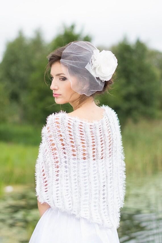 Bridal Cover Up Wedding Shawl With Tiny Flowers Feminine Bolero Bridal Shrug Lace Wedding Bolero Off White Shrug For Modest Wedding