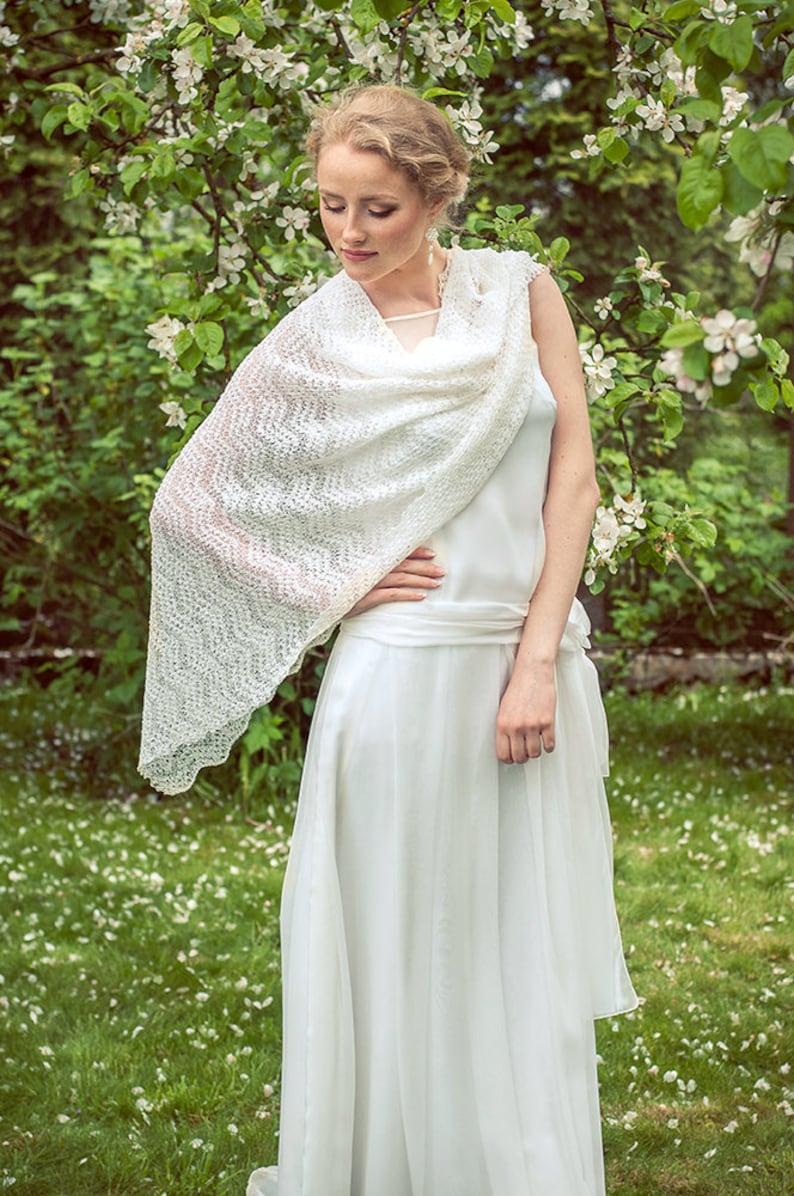 3624457a7 Bridal Lace Shawl White Wedding Stole Linen Shawl Knit Bridal | Etsy