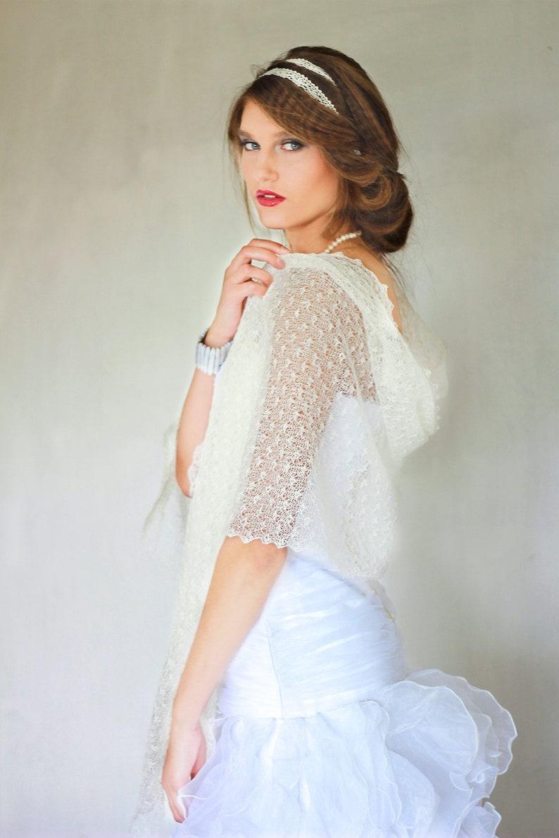fce8b7f80 White Bridal Shawl Wedding shawl Lace Scarf Knit linen shawl | Etsy