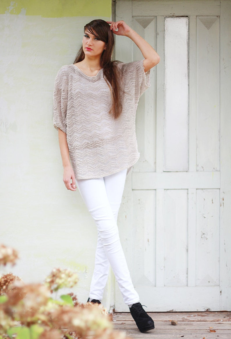 Linen slouchy Sweater Beige knit kimono Blouse Knitted summer Top Loose Fit Shirt Women Tunic Ladies Boho Blouse Eco oversized Blouse