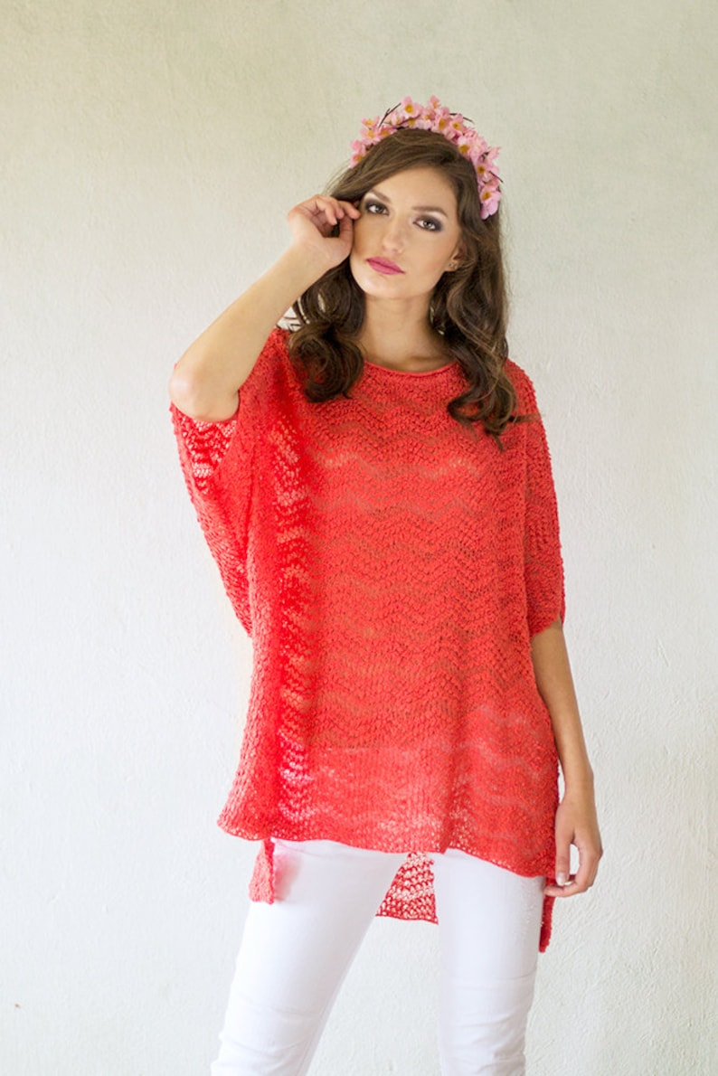 Coral Pink Linen Blouse Oversized Knitted Tunic Loose Fit image 0