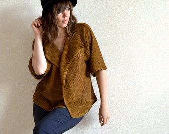 Loose kimono style mustard brown linen jacket Knit summer Sweater Front drape top Cropped cardigan Oversized Blazer custom size and color