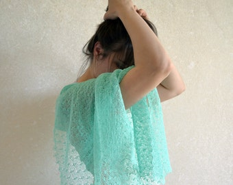 Mint linen scarf Wedding lace knit shawl Knitted summer lightweight wrap Bridesmaid gift gauzy stole Transparent boho cover up