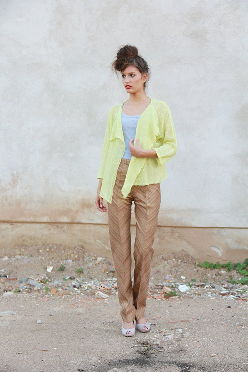 Loose linen jacket Lime knit cardigan Yellow sheer kimono top Green women open front blazer Drop shoulder sweater Custom Size and Color