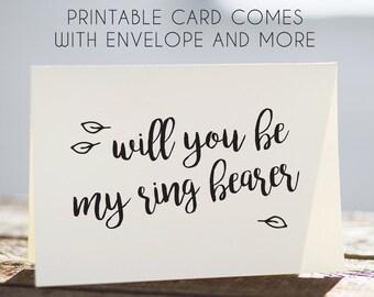 printable ring bearer card, digital ring bearer card, download ring bearer card, ring bearer greeting card, instant download