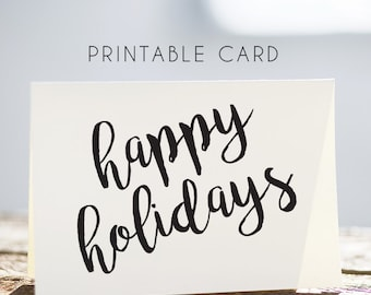 christmas card, whimsical rustic card, happy holidays card, printable christmas card, happy holidays printable