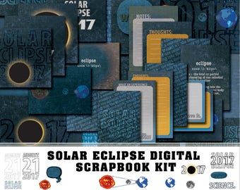 Zonsverduistering digitale Scrapbook Kit