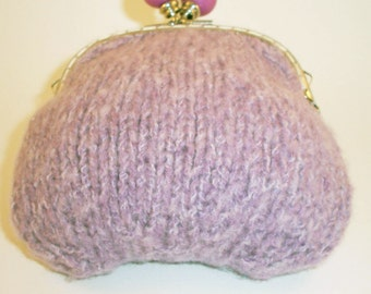 Clutch Bag, Lined Purse, Hand Knitted, Large bobble snap frame, Pink