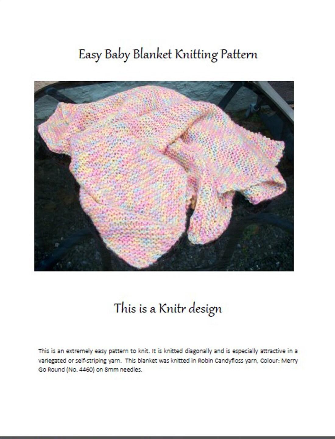 Pdf baby blanket knitting pattern super chunky soft yarn etsy zoom ccuart Choice Image