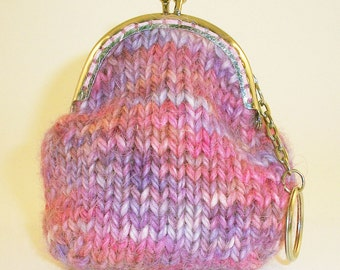 Small hand knitted coin purse, keyring, Snap Frame fastening, Multi pink shades