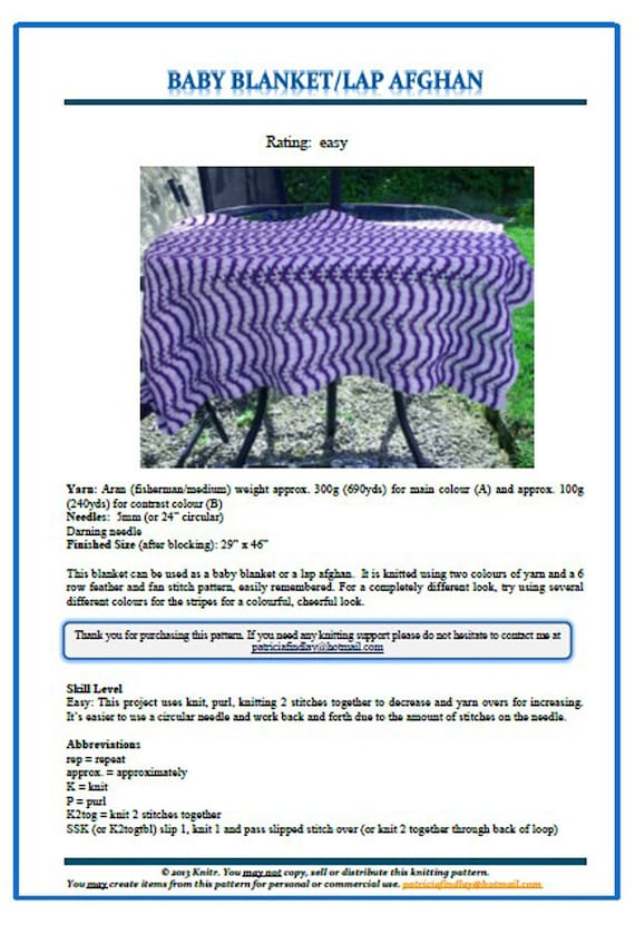 Pdf Baby Blanket Knitting Pattern Feather And Fan Stitch Etsy