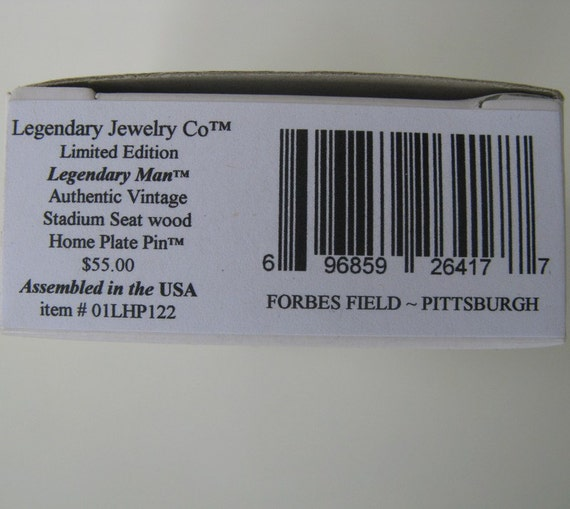 Forbes Field  HOME PLATE seat wood Lapel Pin Trading Pin Pittsburgh Pirates Historic gift