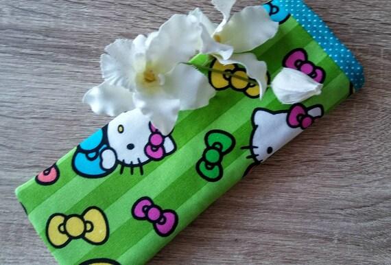 SUPER SALE! Lunettes de vue cas, cas de tissu de lunettes, lunettes de vue housse, étui de lunettes de soleil, Grab Bag cadeau, cadeau de professeur, «Coloré d'Hello Kitty!»