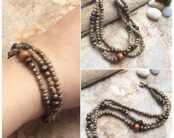 Beaded Layered Bracelet, Boho Bracelet