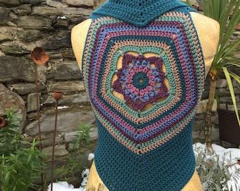 Star Flower Crochet Waistcoat, Crochet Vest OOAK, Boho Vest, Shrug
