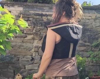 Pixie Hooded Waistcoat, Hooded Vest, Festival Clothing, Gift, Boho Vest, Fairy Top, Festival Accessories, Hood