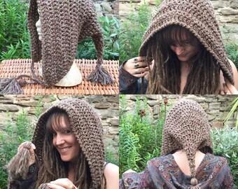 Pointy Pixie Hood Unisex, Crochet Pixie Hood, Dread Snood, Scoodie