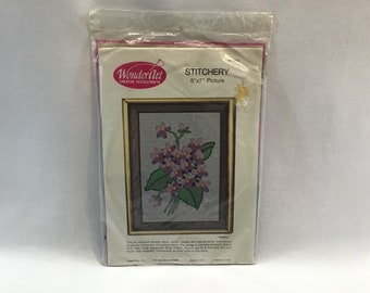 Wonder Art Stitch-A-Sampler #5061 Peace and Plenty or Sunset Stitchery Basket of Fall Flowers #2283 Vintage Embroidery Kit YOUR CHOICE