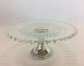 Duchin Tidbit Tray Weighted Sterling Silver Base Clear Pressed Glass Candlewick Style