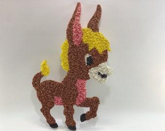 Donkey Melted Plastic Popcorn Vintage Christmas Wall Decor