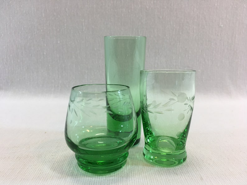 Vintage Cordial Liqueur Green Glass 3 Piece Group Etched Retro Etsy