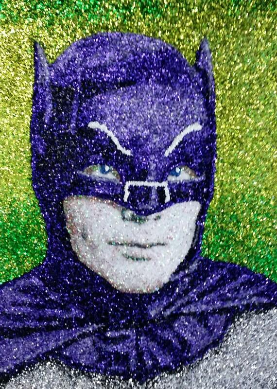 Adam West Batman Glitter Art 9x12 Etsy